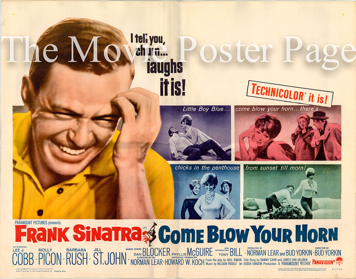Pictured is a US half-sheet promotional poster for the 1963 Bud Yorkin film Come Blow Your Horn starring Frank Sinatra.