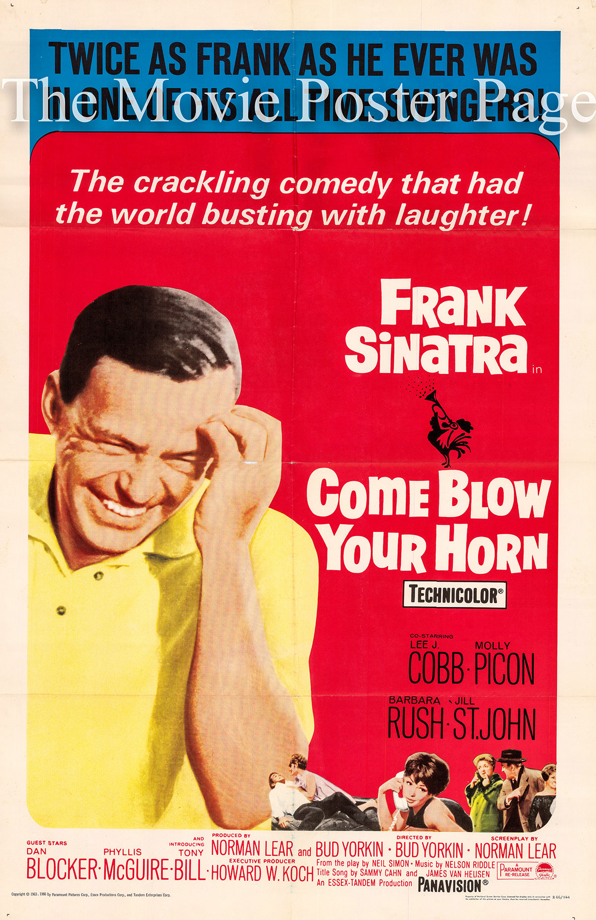 Pictured is a US one-sheet promotional poster for a 1966 rerelease of the 1963 Bud Yorkin film Come Blow Your Horn starring Frank Sinatra.