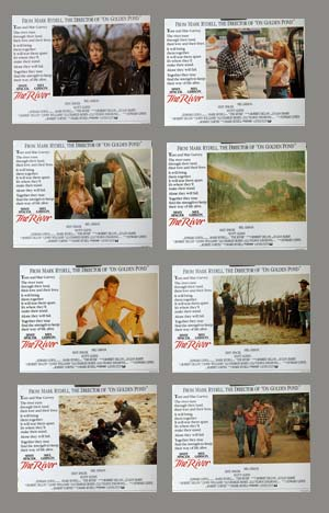 Pictured is a UK Lobby Card set for the 1989 Mark Rydell film The River starring Mel Gibson and Sissy Spacek.