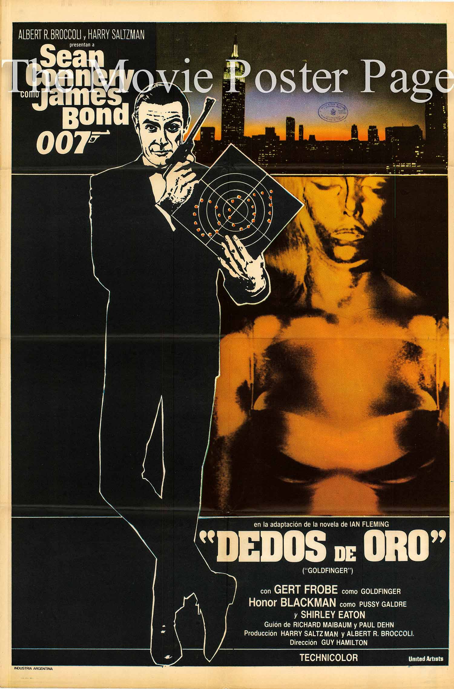 Pictured is an Argentine promotional poster made for the 1964 Guy Hamilton film Goldfinger starring Sean Connery as James Bond.