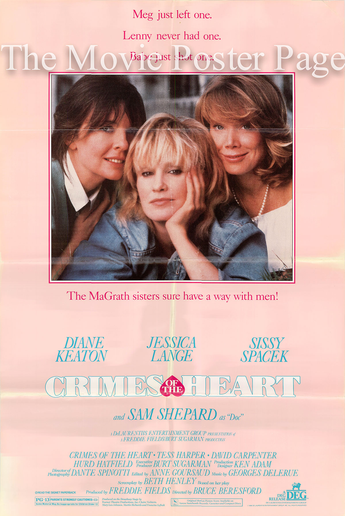 Pictured is a US one-sheet poster for the 1986 Bruce Beresford film Crimes of the Heart starring Diane Keaton.