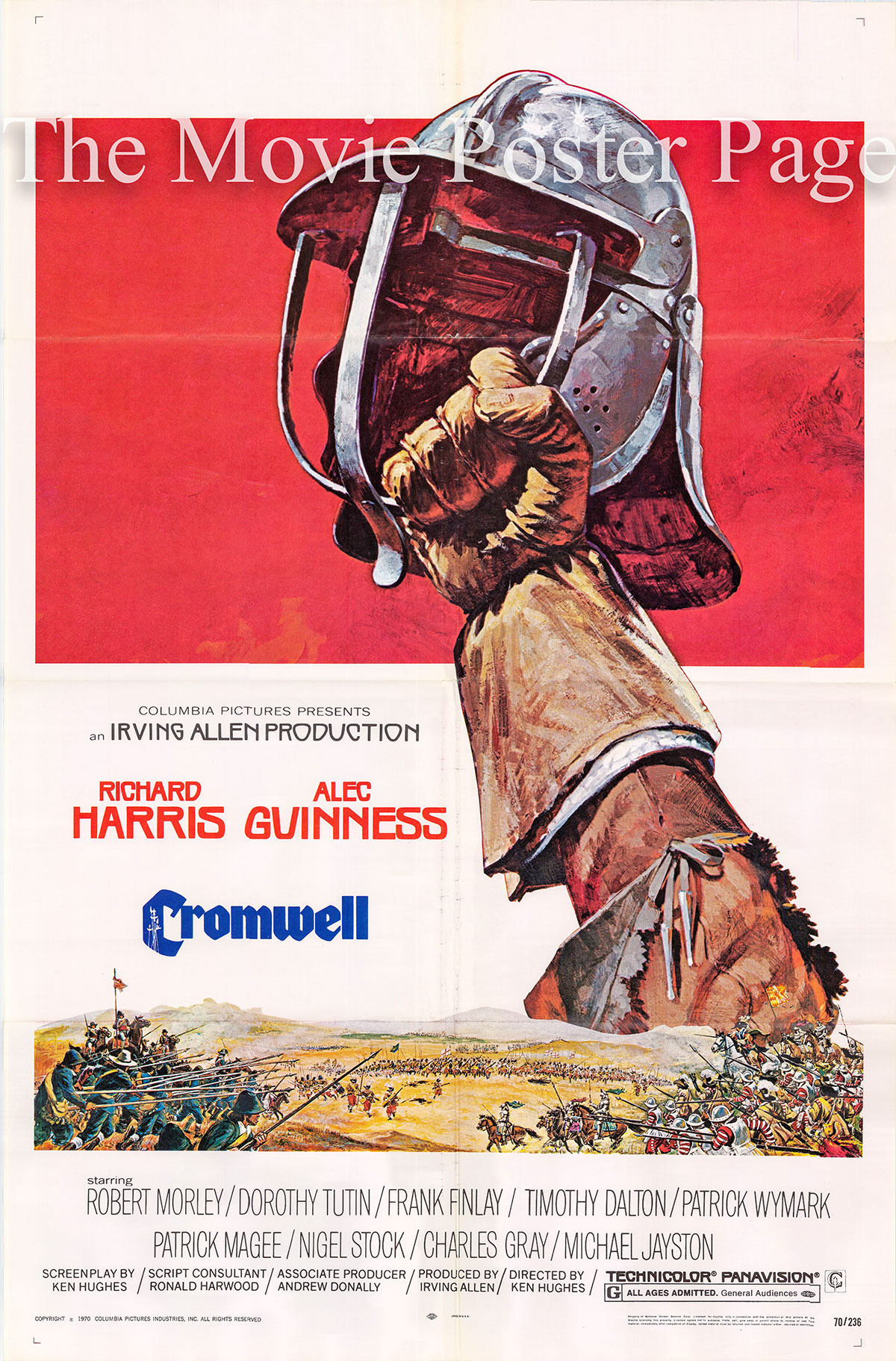Pictured is a US one-sheet poster for the 1970 Ken Hughes film Cromwell starring Richard Harris as Oliver Cromwell.