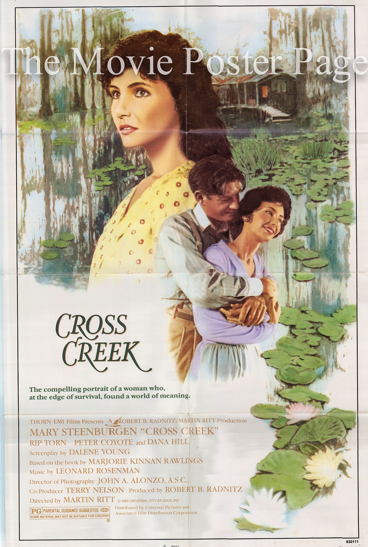 Pictured is a US promotional one-sheet poster for the 1983 Martin Ritt film Cross Creek starring Mary Steenbergen.