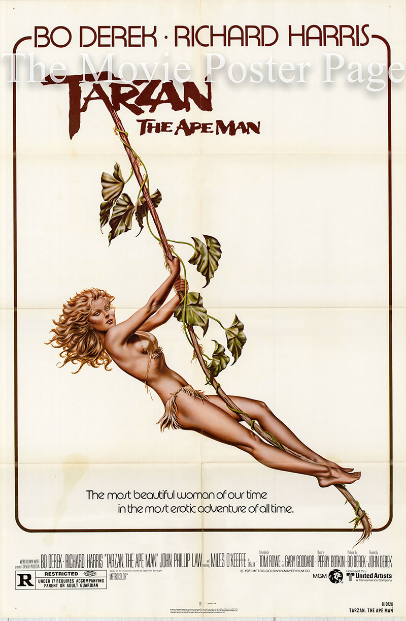 Pictured is a US one-sheet poster for the 1981 John Derek film Tarzan the Ape Man starring Miles O'Keefe as Tarzan.