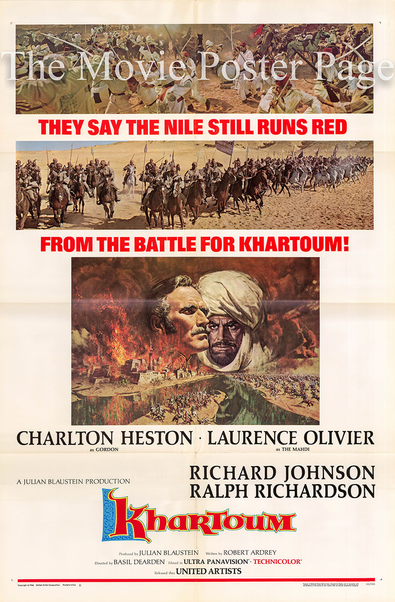 Pictured is a US one-sheet poster for the 1966 Basil Dearden film Khartoum starring Charlton Heston.