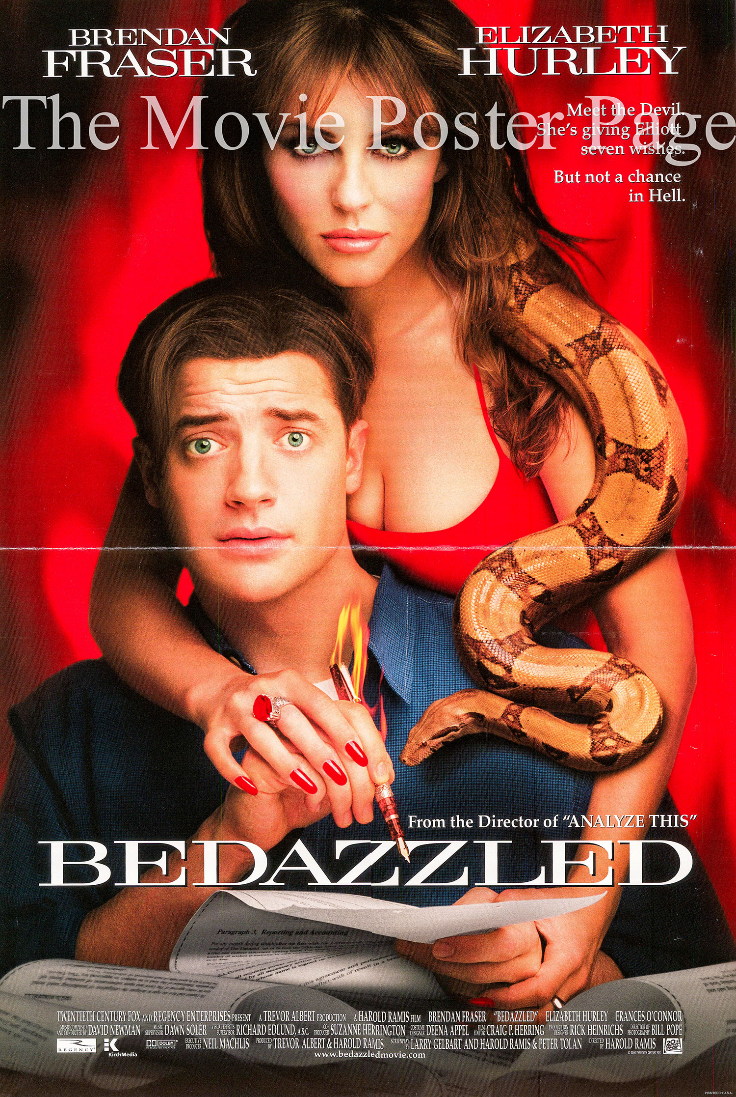 Pictured is a US mini-poster designed to promote the 2000 Harold Ramis film Bedazzled starring Brendan Fraser.