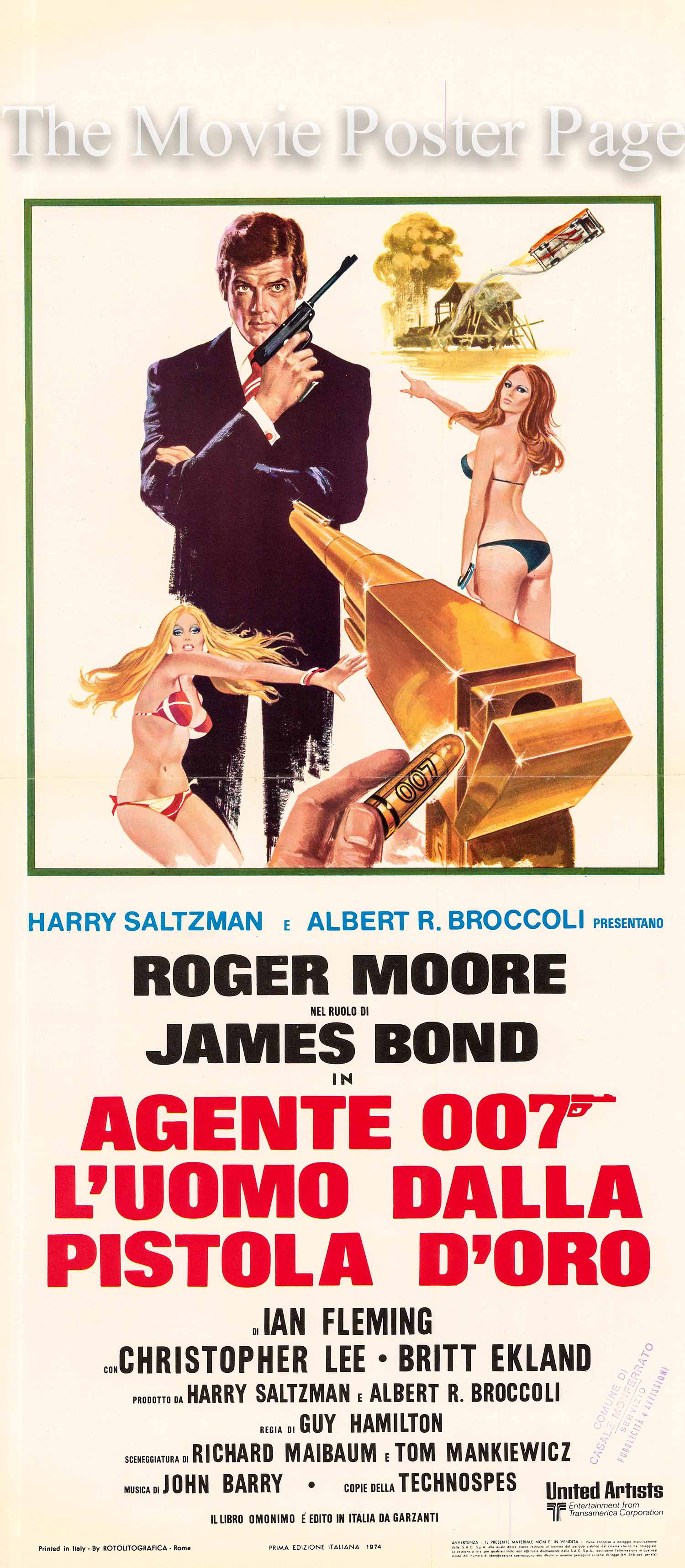 This is an Italian locandina promotional poster after a design by Robert McGinnis made to promote the 1974 Guy Hamilton film The Man with the Golden Gun, starring Roger Moore as James Bond.
