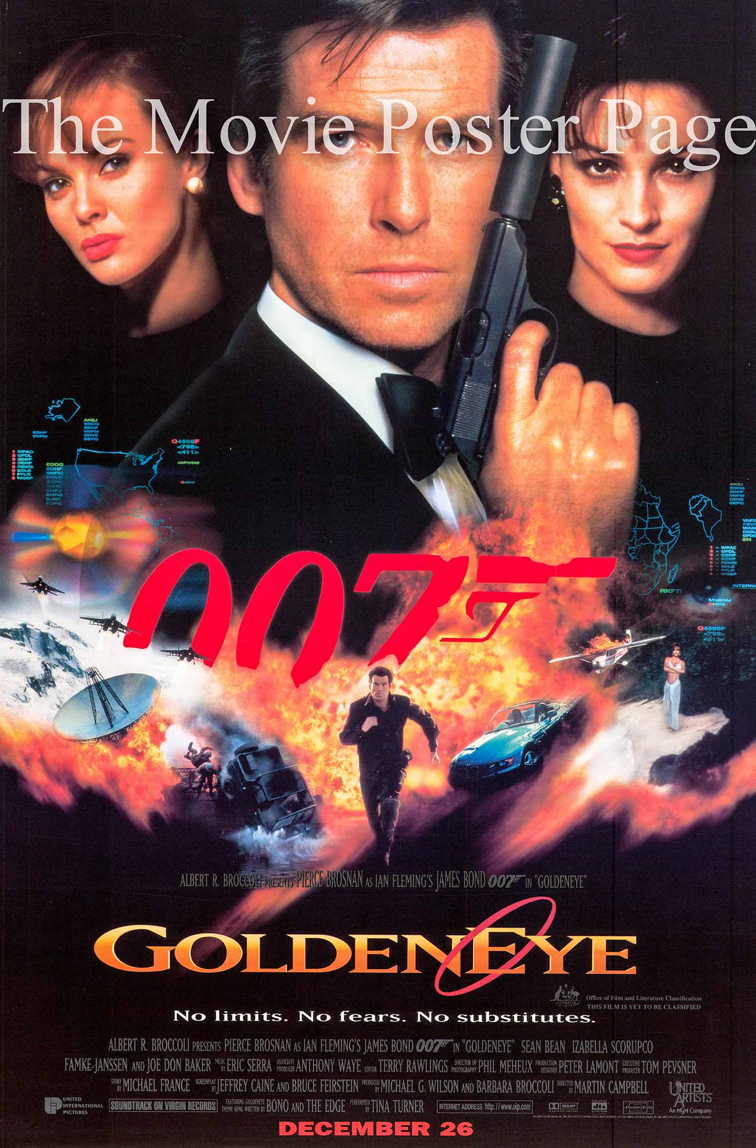 Pictured is a US advance promotional poster for the 1995 Martin Campbell film Goldeneye starring Pierce Brosnan
