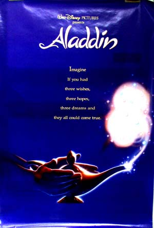 Pictured is an international promotional poster for the 1992 John Clements and John Musker Disney animation film Aladdin featuring Scott Weinger as the voice of Aladdin.