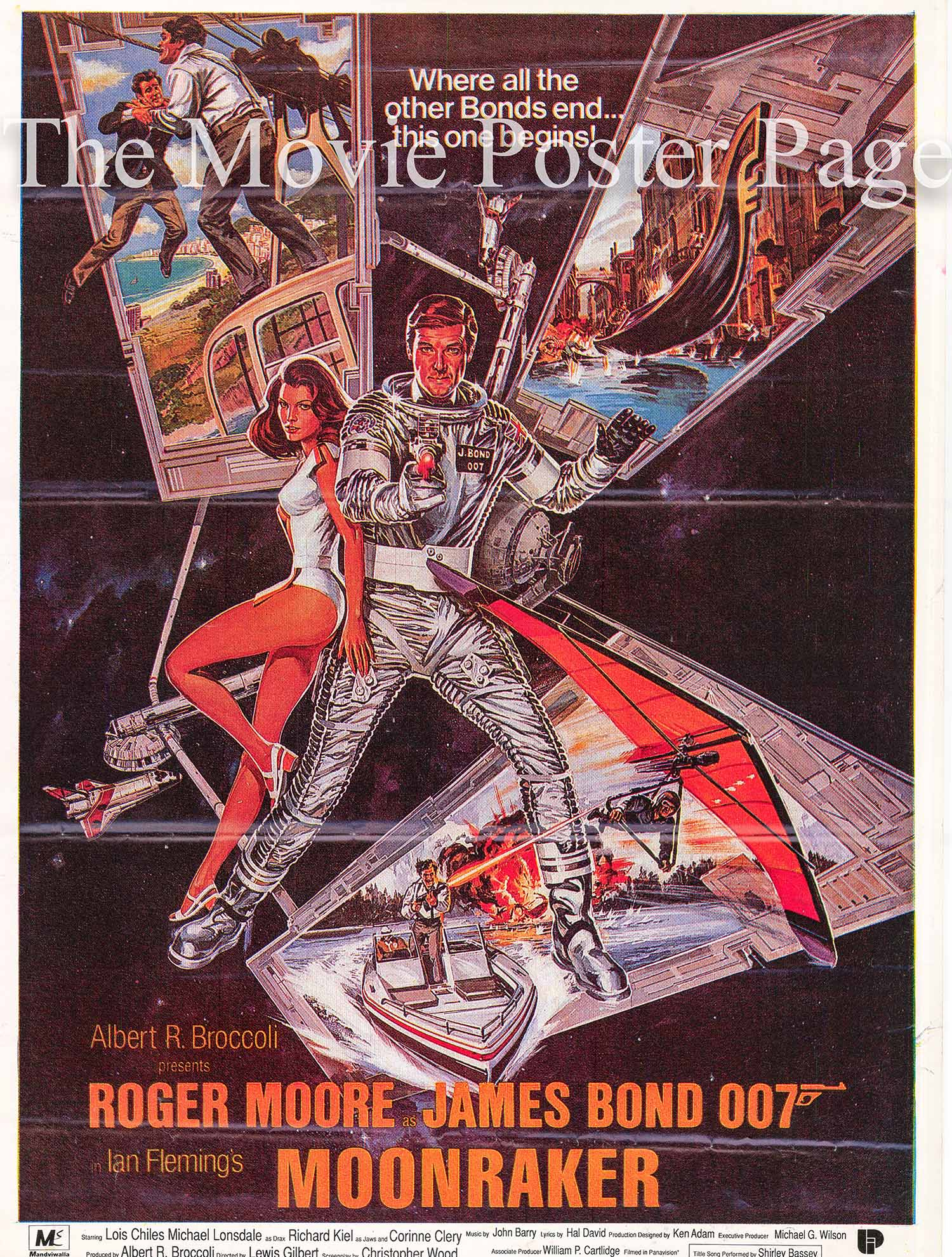 Pictured is a Pakistani one-sheet designed to promote the 1979 Lewis Gilbert film Moonraker starring Roger Moore as James Bond.