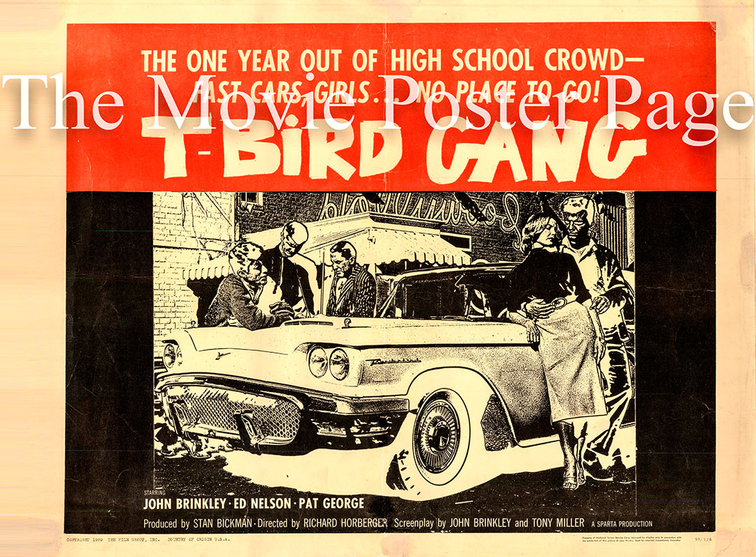 Pictured is a US half-sheet promotional poster for the 1959 Richard Harbinger film T-Bird Gang starring John Brinkley.