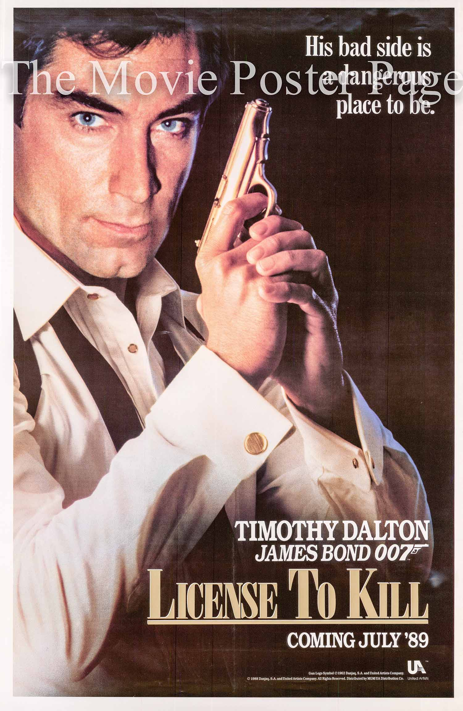 This is a US advance promotional poster for the 1989 John Glen film License to Kill starring Timonthy Dalton.