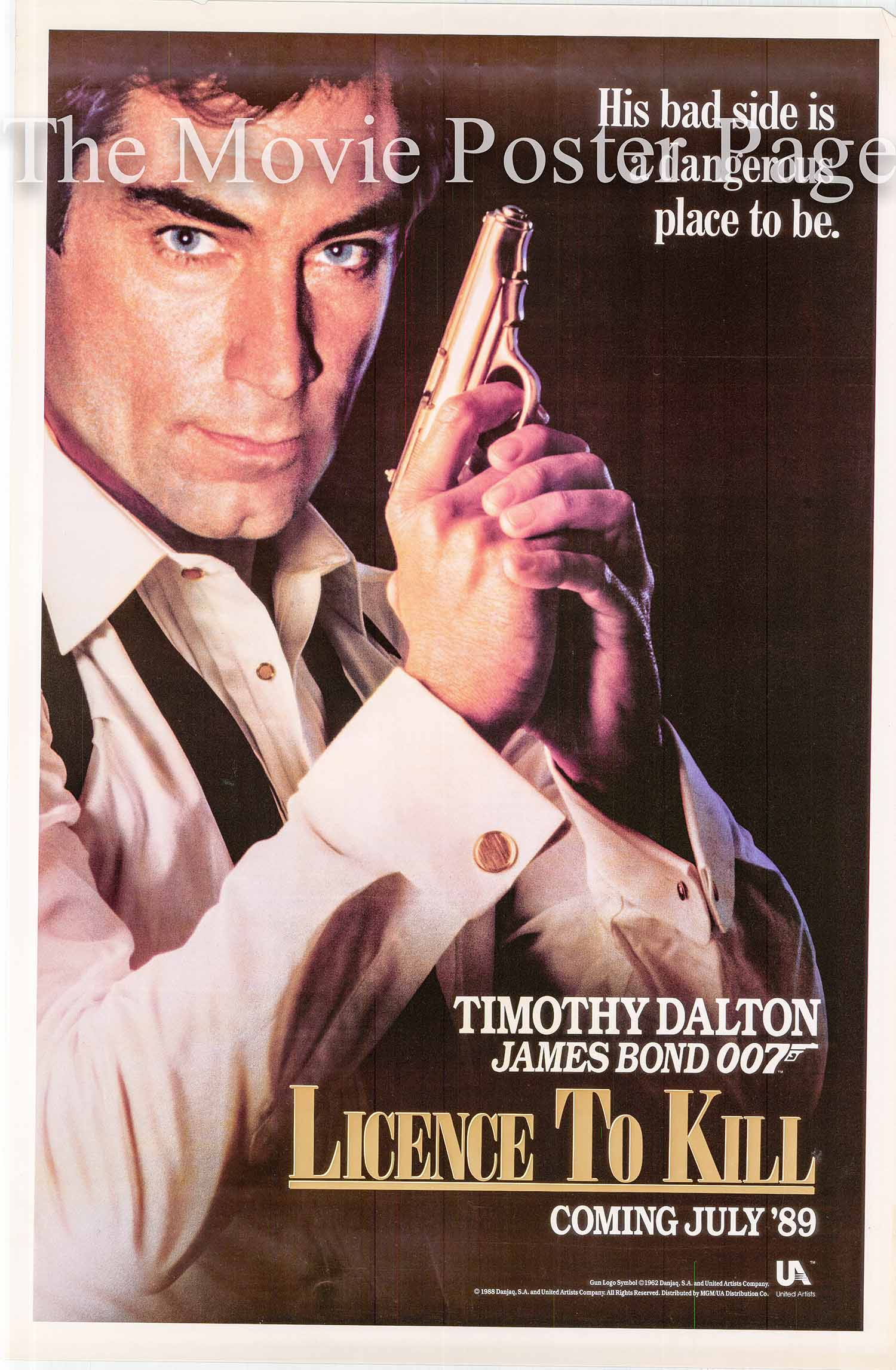 This is a UK advance promotional poster for the 1989 John Glen film License to Kill starring Timonthy Dalton.