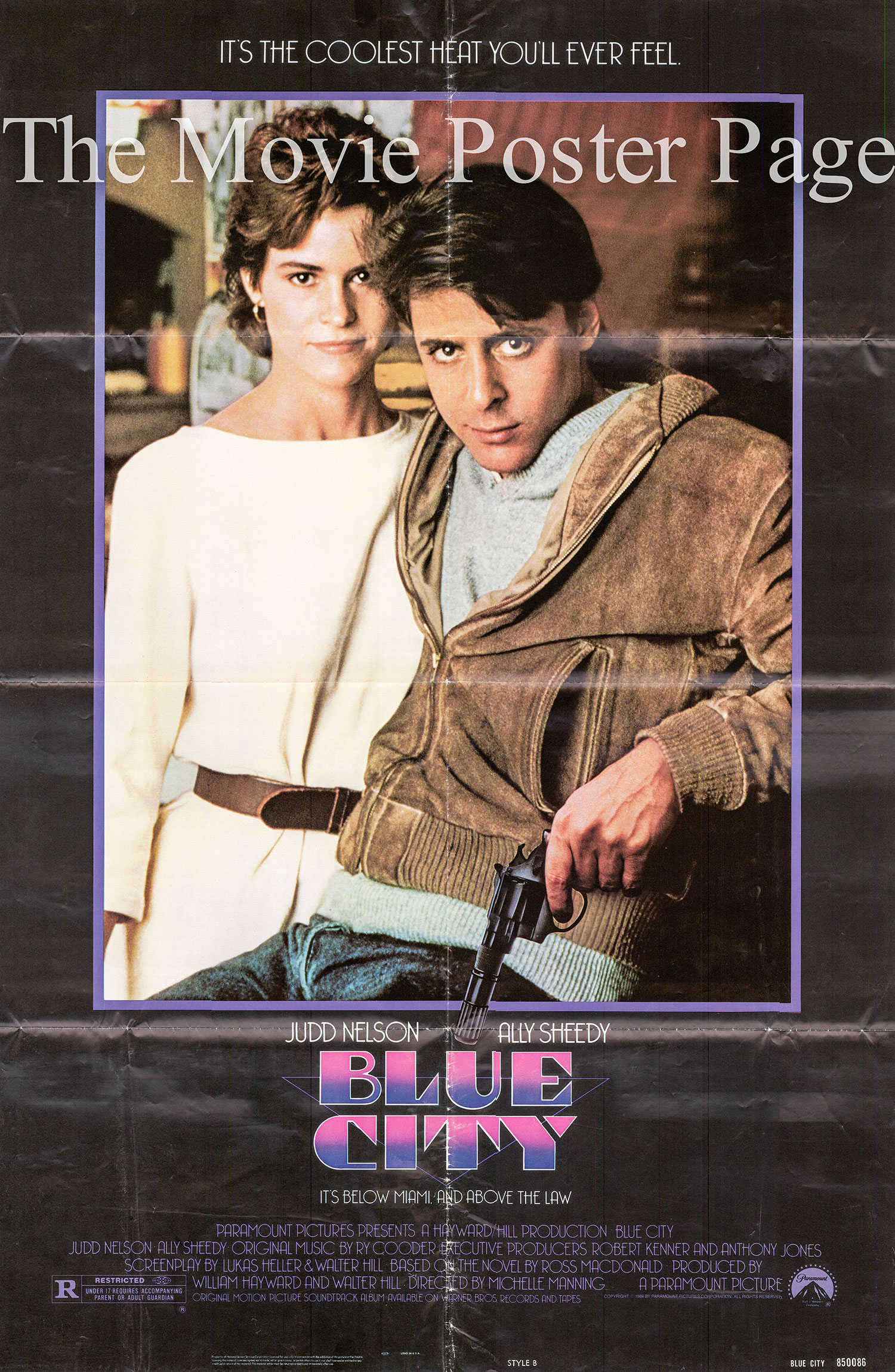 Pictured is a US one-sheet poster for the 1986 Michelle Manning film Blue City starring Ally Sheedy.