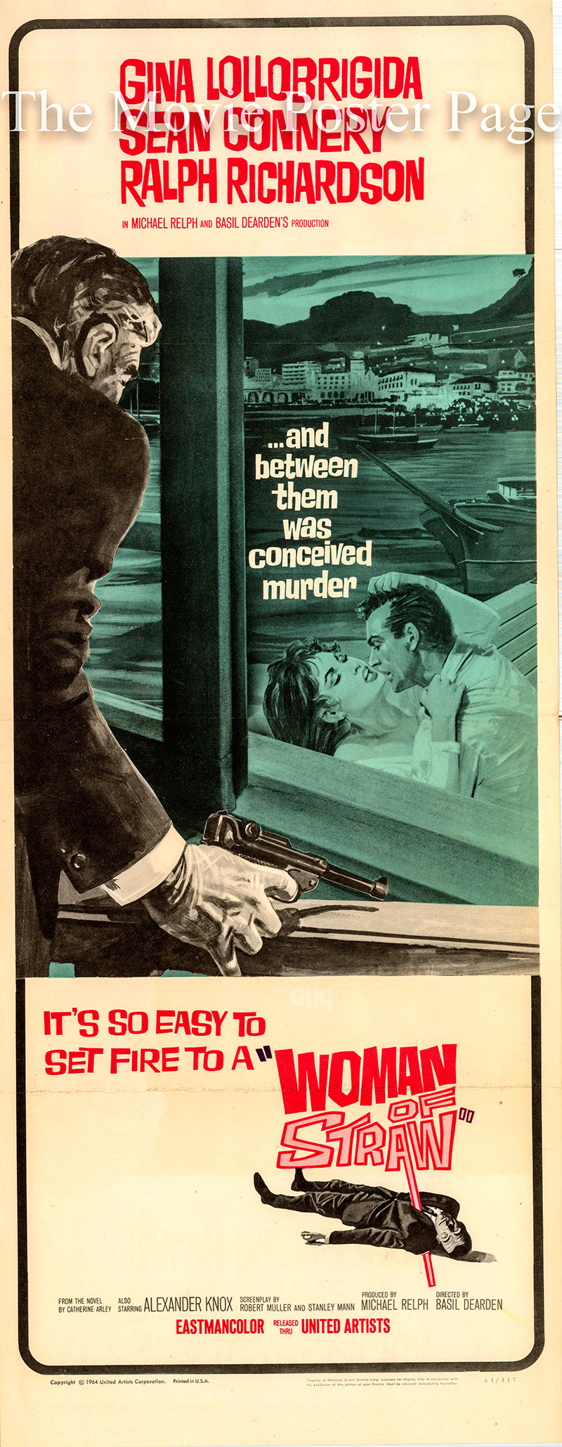 Pictured is a US insert poster for the 1964 Basis Dearden film Woman of Straw starring Sean Connery.