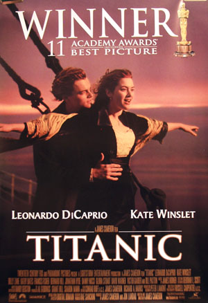 Pictured is the Academy Awards poster for the 1997 James Cameron film Titanic, starring Leonardo DiCaprio and Kate Winslet.