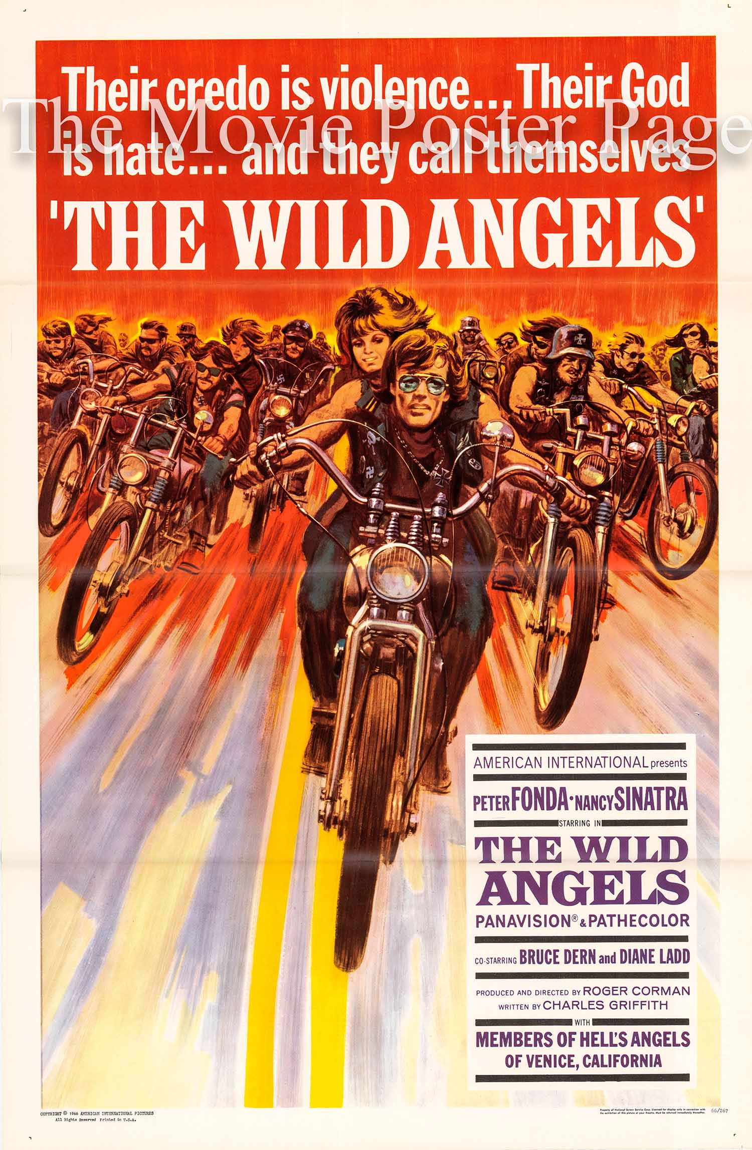 Pictured is a US one-sheet promotional poster for the 1966 Roger Corman film The Wild Angels starring Peter Fonda.