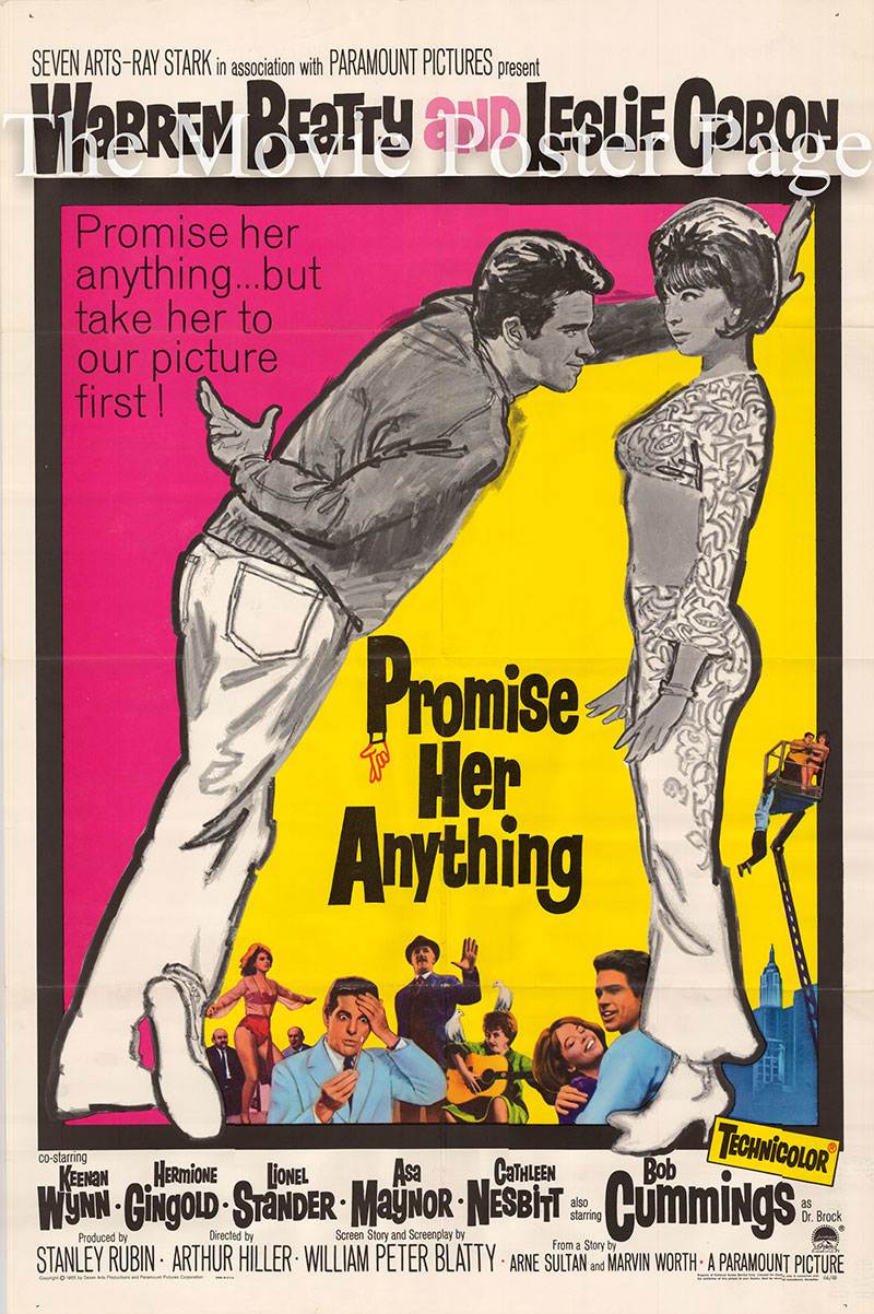Pictured is a US one-sheet poster for the 1965 Arthur Hiller film Promiser Her Anything starring Warren Beatty as Harley Rummel.