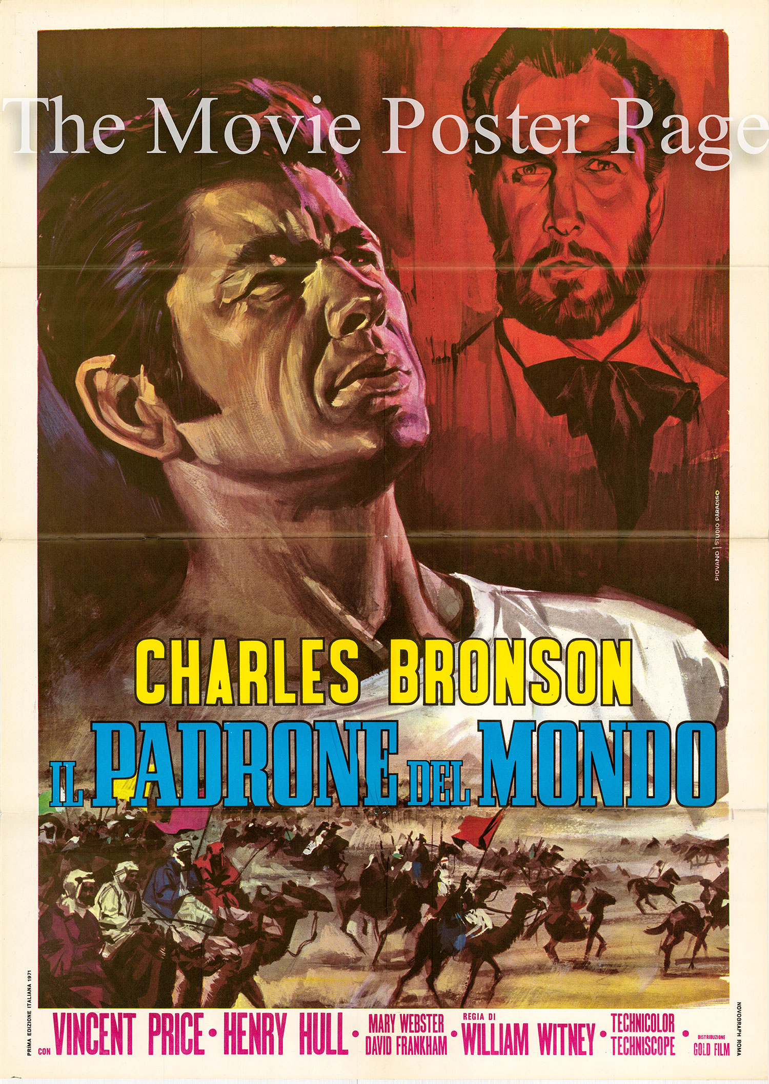 Pictured is an Italian two-sheet poster for the 1961 William Witney film Master of the world starring Vincent Price and Charles Bronson.