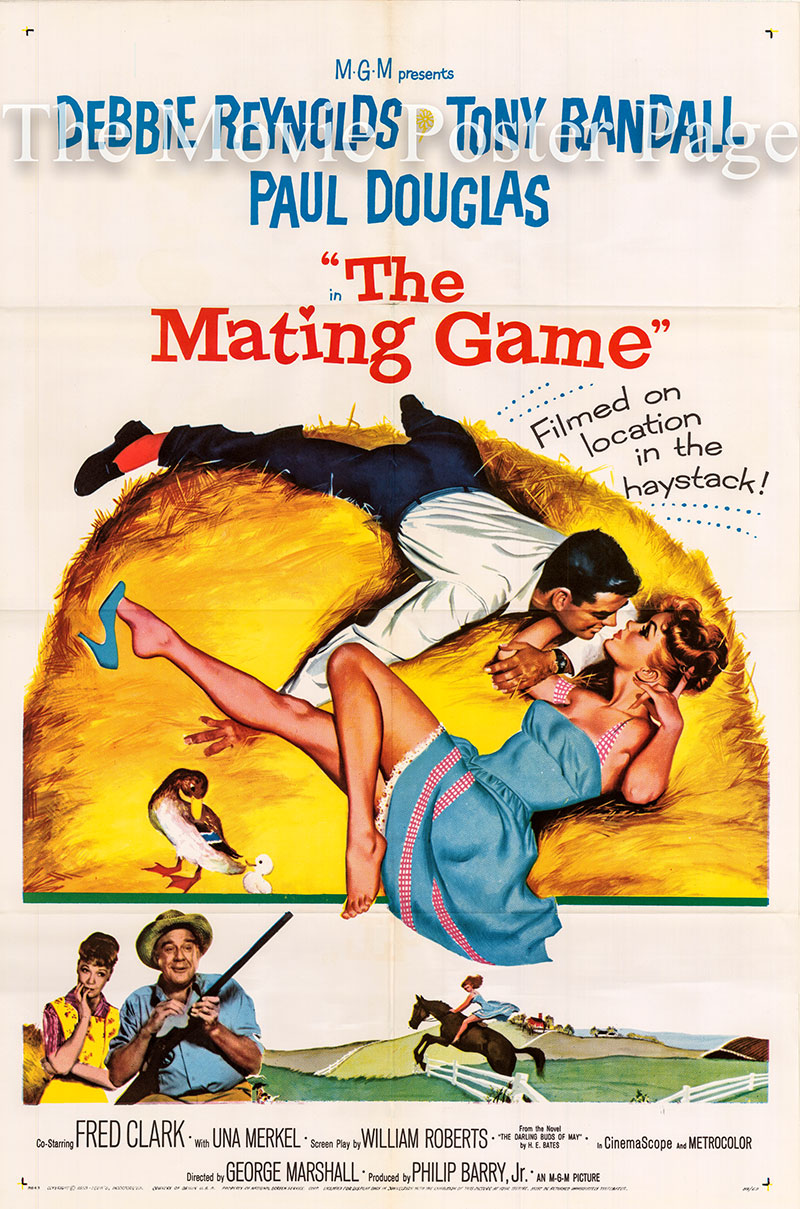 Pictured is a US one-sheet poster for the 1959 George Marshall film The Mating Game starring Debbie Reynolds.