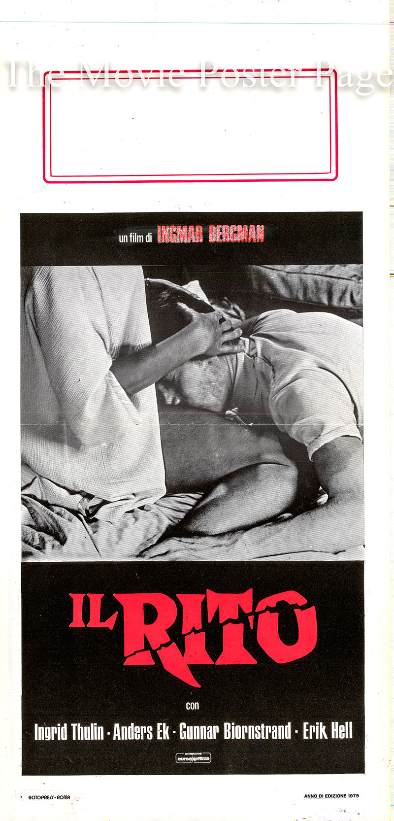 Pictured is an Italian locandina poster for a 1979 rerelease of the 1969 Ingmar Bergman film The Rite starring Ingrid Thulin as Thea Winkelmann.
