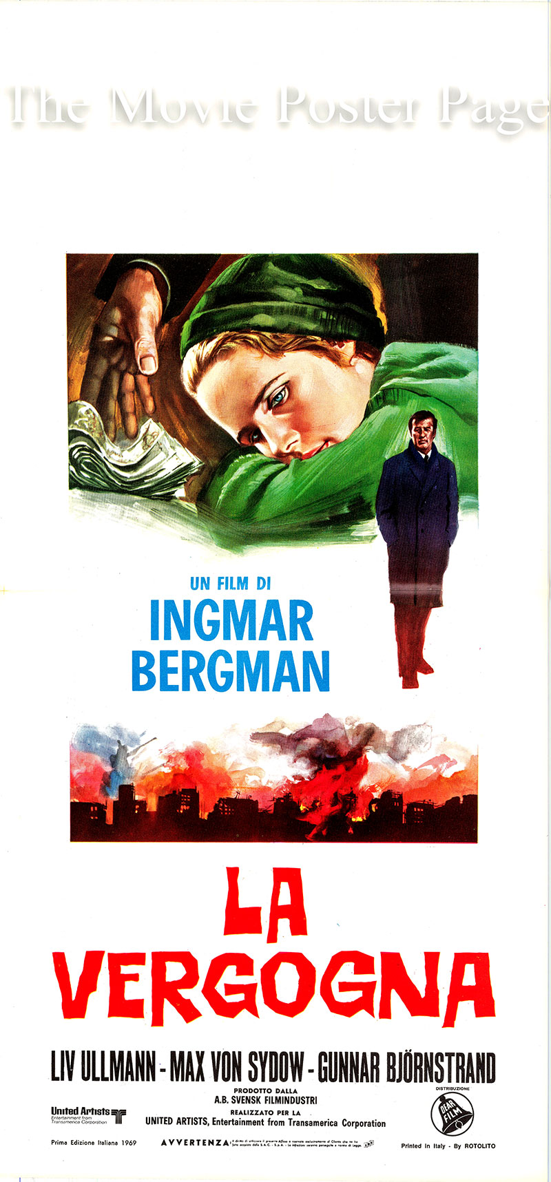 Pictured is an Italian locandina poster for a 1969 rerelease of the 1968 film <i>Shame</i> written and directed by Ingmar Bergman and starring Liv Ullmann as Eva Rosenberg.