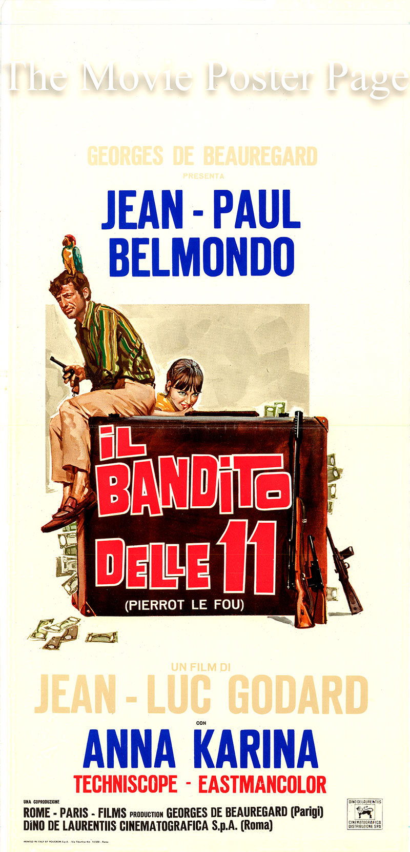 This is a 1965 Italian locandina poster for the 1965 Jean-Luc Godard film <i>Pierro le fou</i> starring Jean-Paul Belmondo as Ferdinand Griffon.