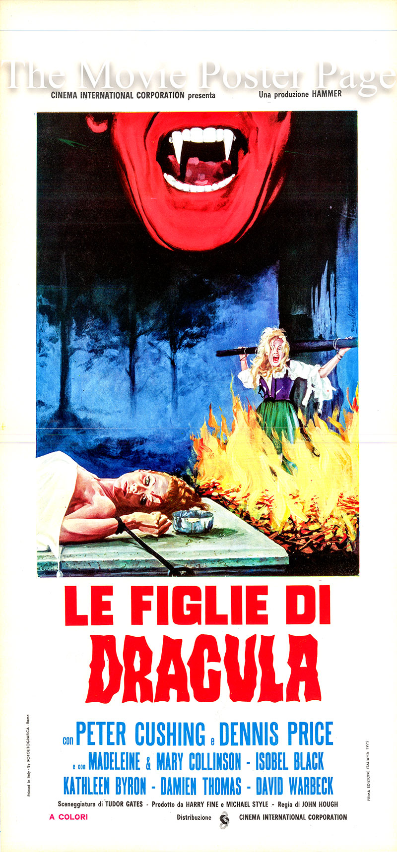 Pictured is an Italian locandina poster for the 1971 John Hough film <i>Twins of Evil</i> based on a screenplay by Tudor Gates and starring Peter Cushing as Gustav Weil.