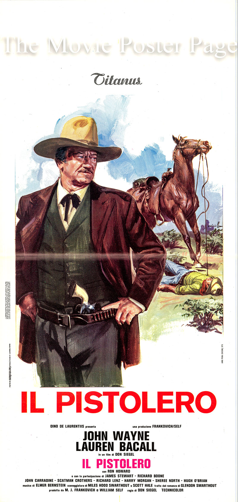Pictured is an Italian locandina promotional poster for the 1976 Don Siegel film The Shootist starring John Wayne.