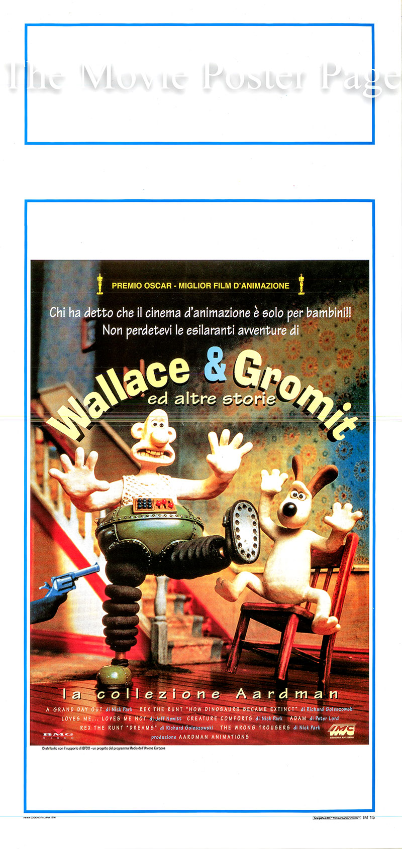 Pictured is an Italian locandina poster for a 1995 rerelease of the 1995 Nick Park and Peter Lord film Wallace and Gromit the Aardman Collection starring Peter Sallis as the voice of Wallace.
