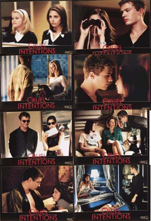 Pictured is a US lobby card set for the 1999 Roger Kumble film Cruel Intentions starring Sarah Michelle Gellar.