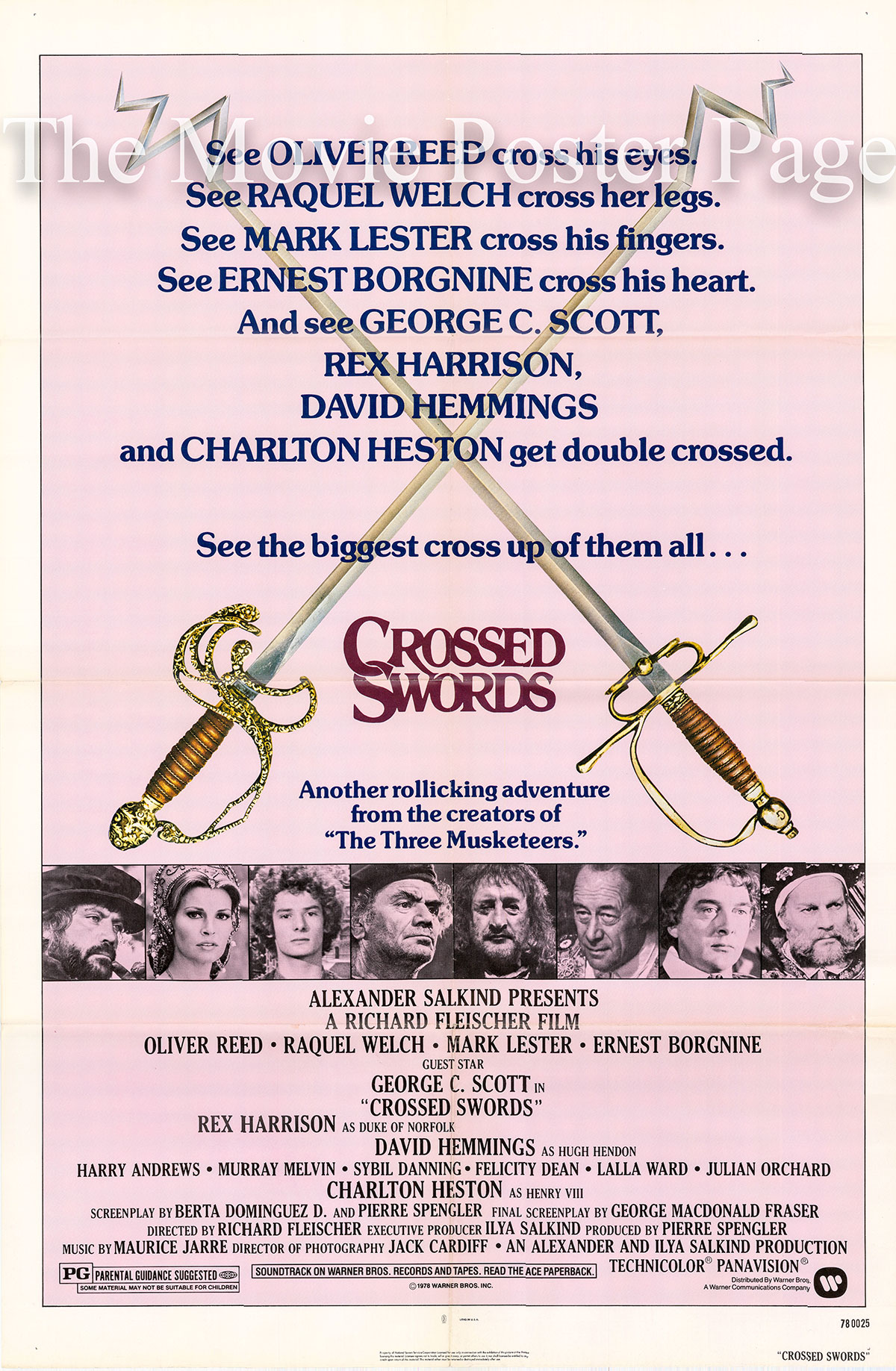 Pictured is a US promotional poster for the Richard Fleischer film Crossed Swords starring Oliver Reed.