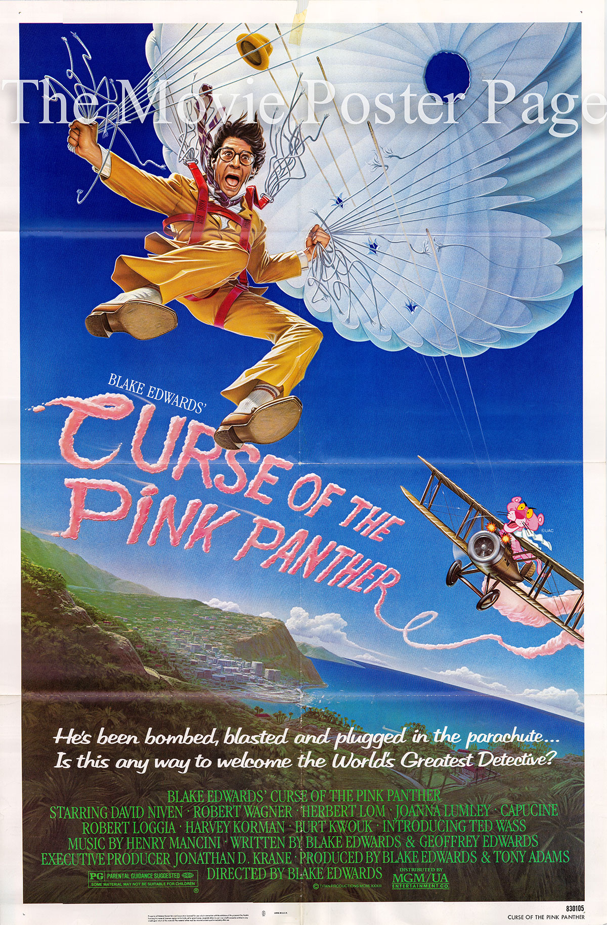Pictured is a US one-sheet poster for the 1983 Blake Edwards film the Curse of the Pink Panther, starring Peter Sellers.