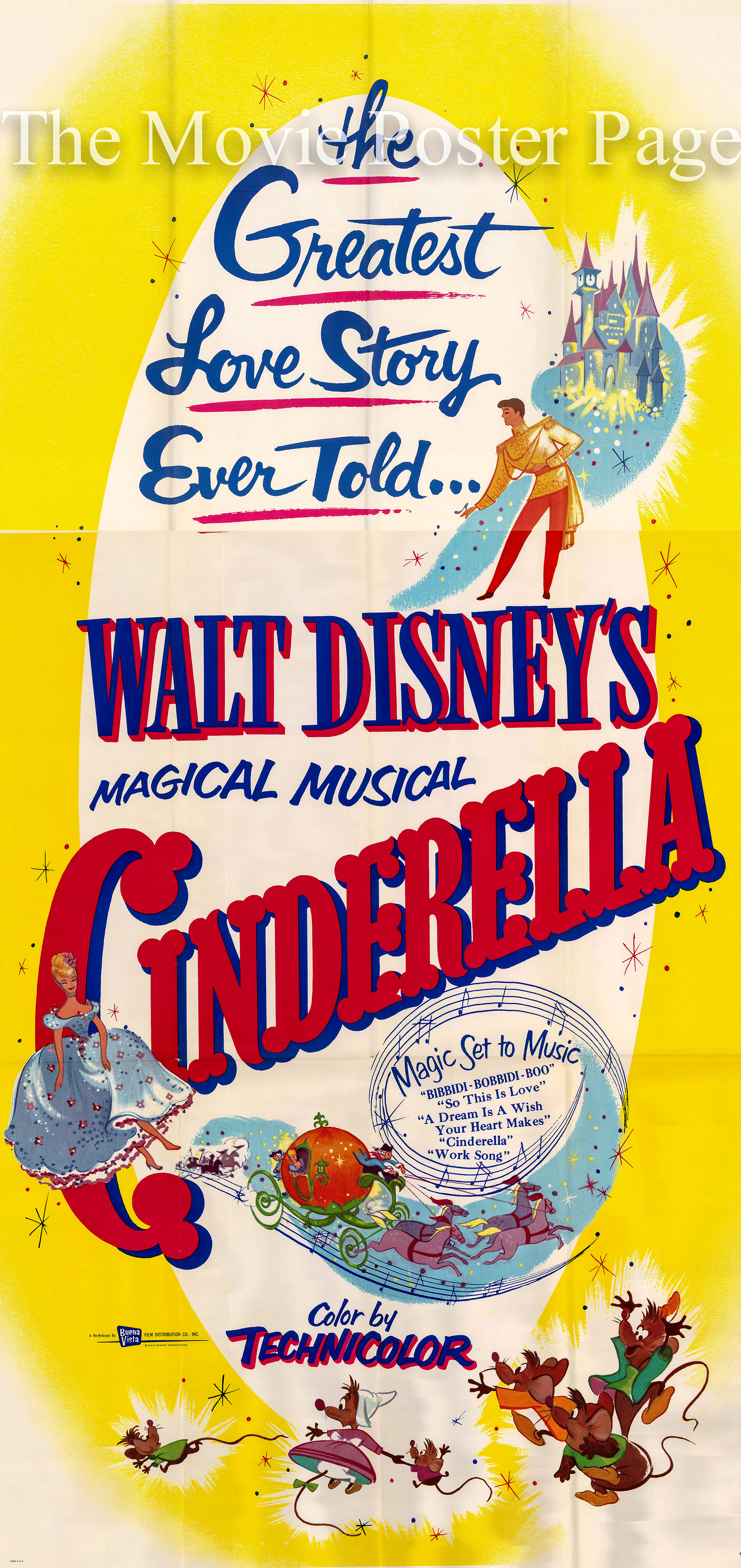 Pictured is a three-sheet US promotional poster made for a 1965 rerelease of the 1950 Clyde Geronimi and Wilfred Jackson film Cinderella starring Ilene Woods as the voice of Cinderella.