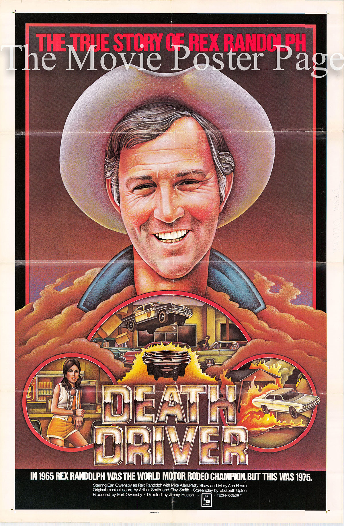 Pictured is a US one-sheet poster for the 1977 Jimmy Huston film Death Driver starring Earl Owensby as Rex Randolph.
