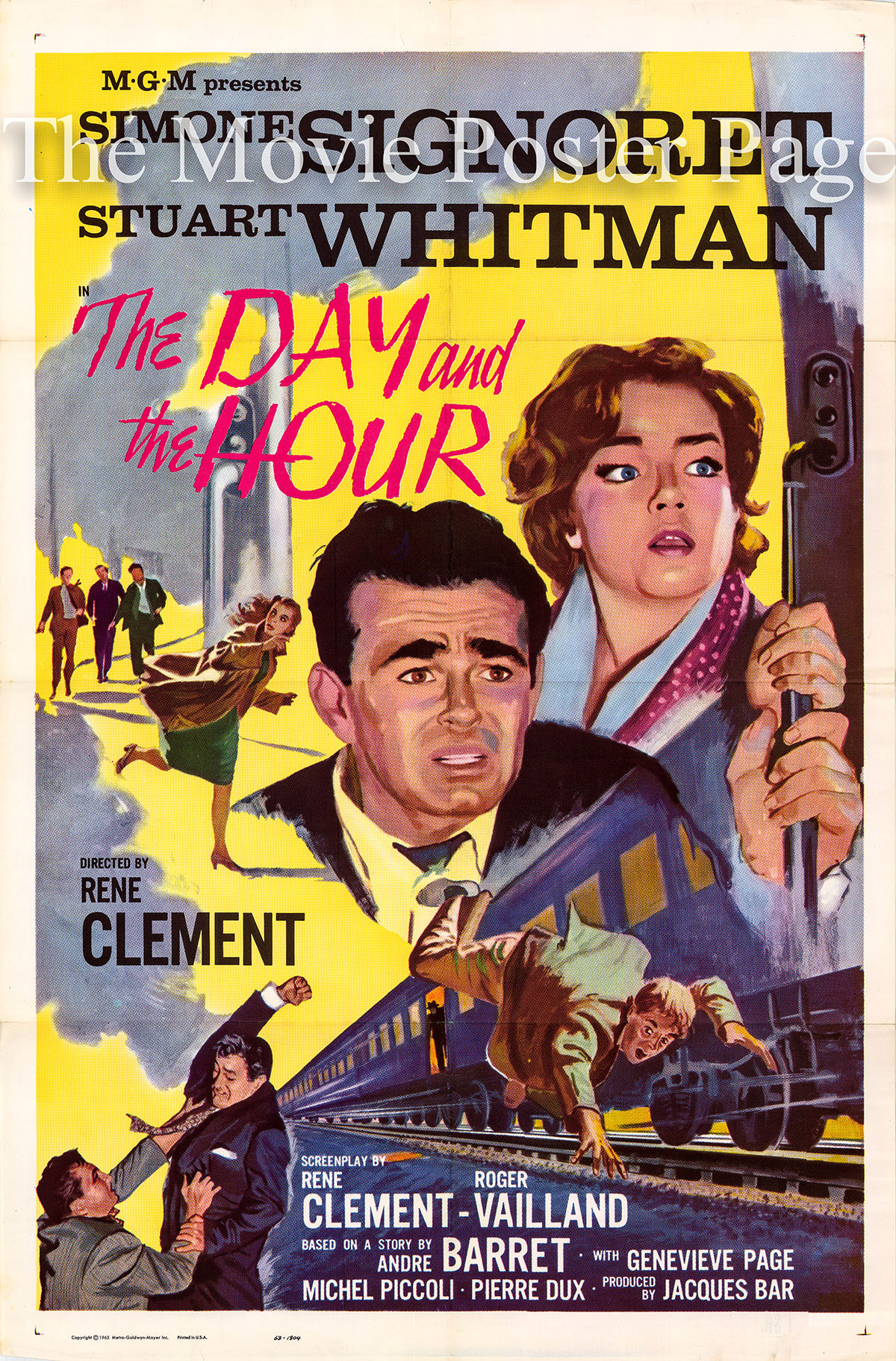 Pictured is a US one-sheet poster for the 1963 Rene Clement film The Day and the Hour starring Simone Signoret.