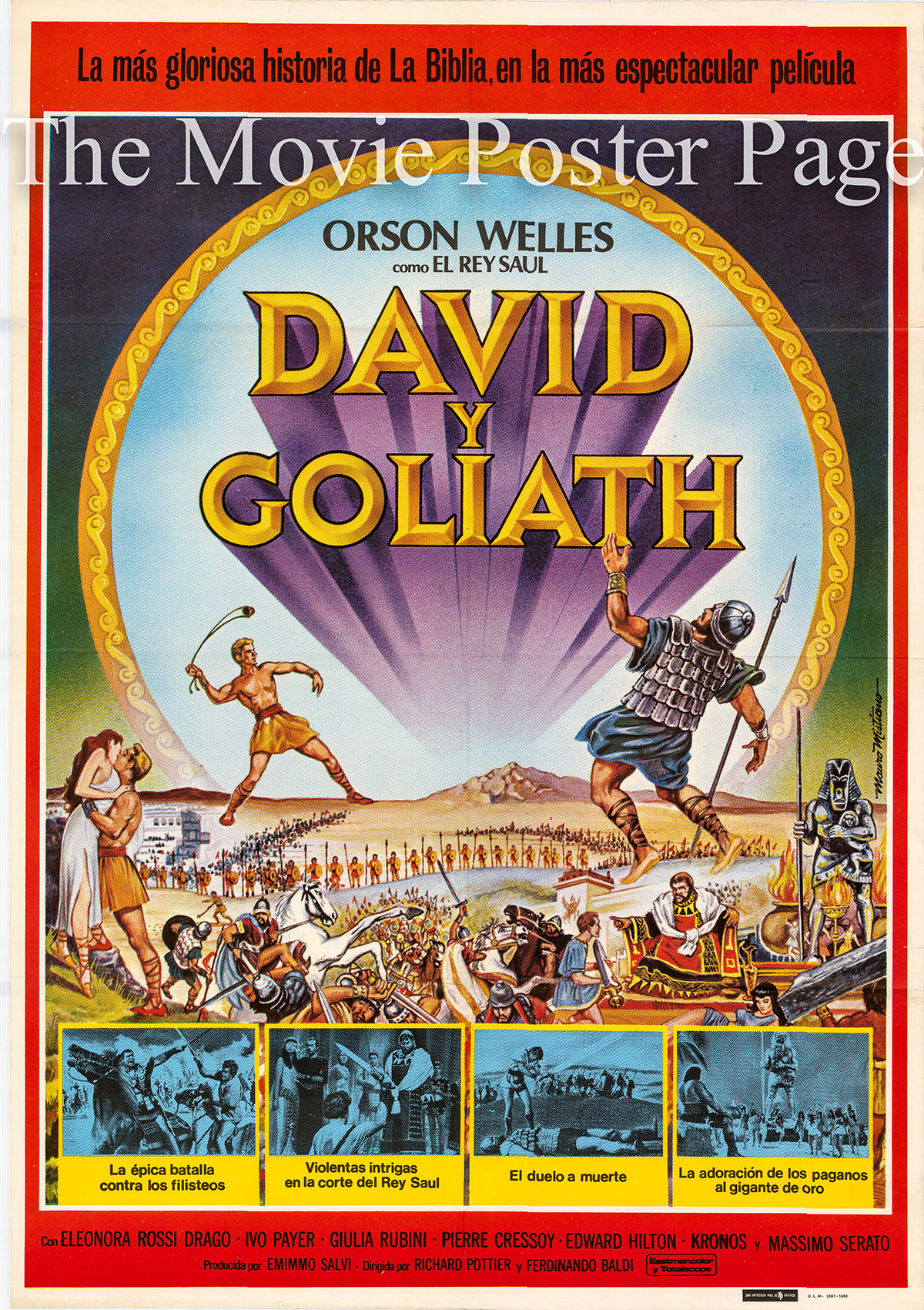 Pictured is a Spanish promotional poster for a 1980 rerelease of the 1960 Ferdinando Baldi and Richard Pottier film David and Goliath starring Orson Welles as King Saul.