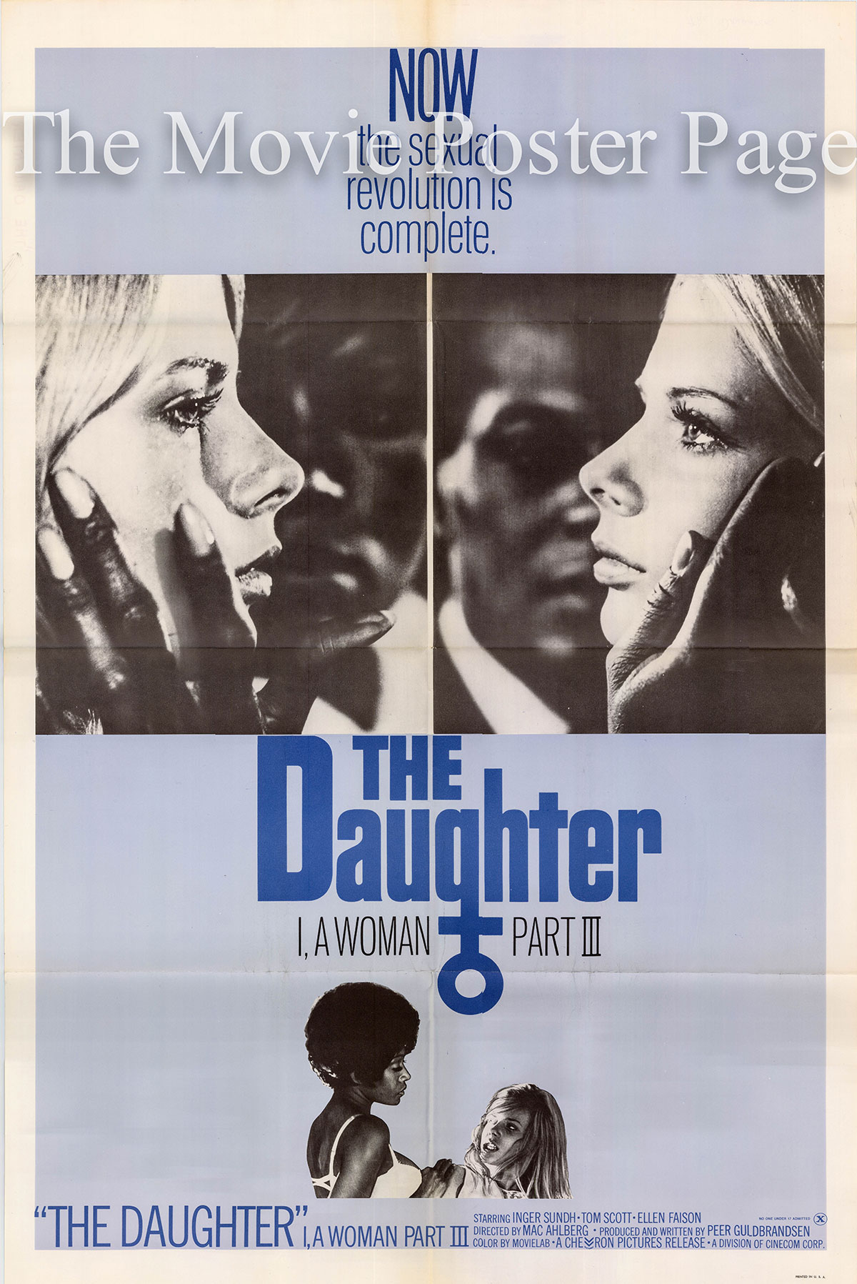 Pictured is a US one-sheet poster for the 1970 Mac Ahlberg film The Daugher: I, a woman Part III starring Gun Falck as Siv.
