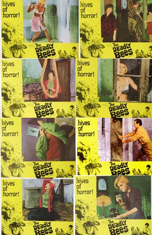 Pictured is a US lobby card set for the 1967 Freddie Francis film The Deadly Bees starring Suzanna Leigh as Vicki Robbins.