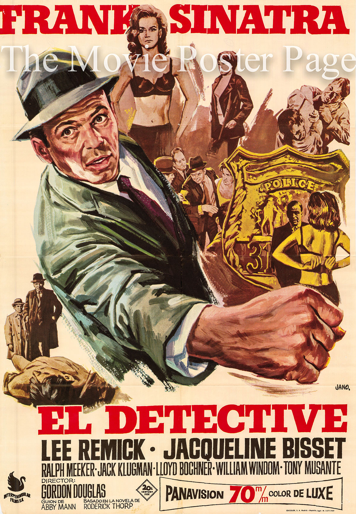 Pictured is a Spanish promotional poster for a 1969 rerelease of the 1968 Gordon Douglas film The Detective starring Frank Sinatra as Joe Leland.