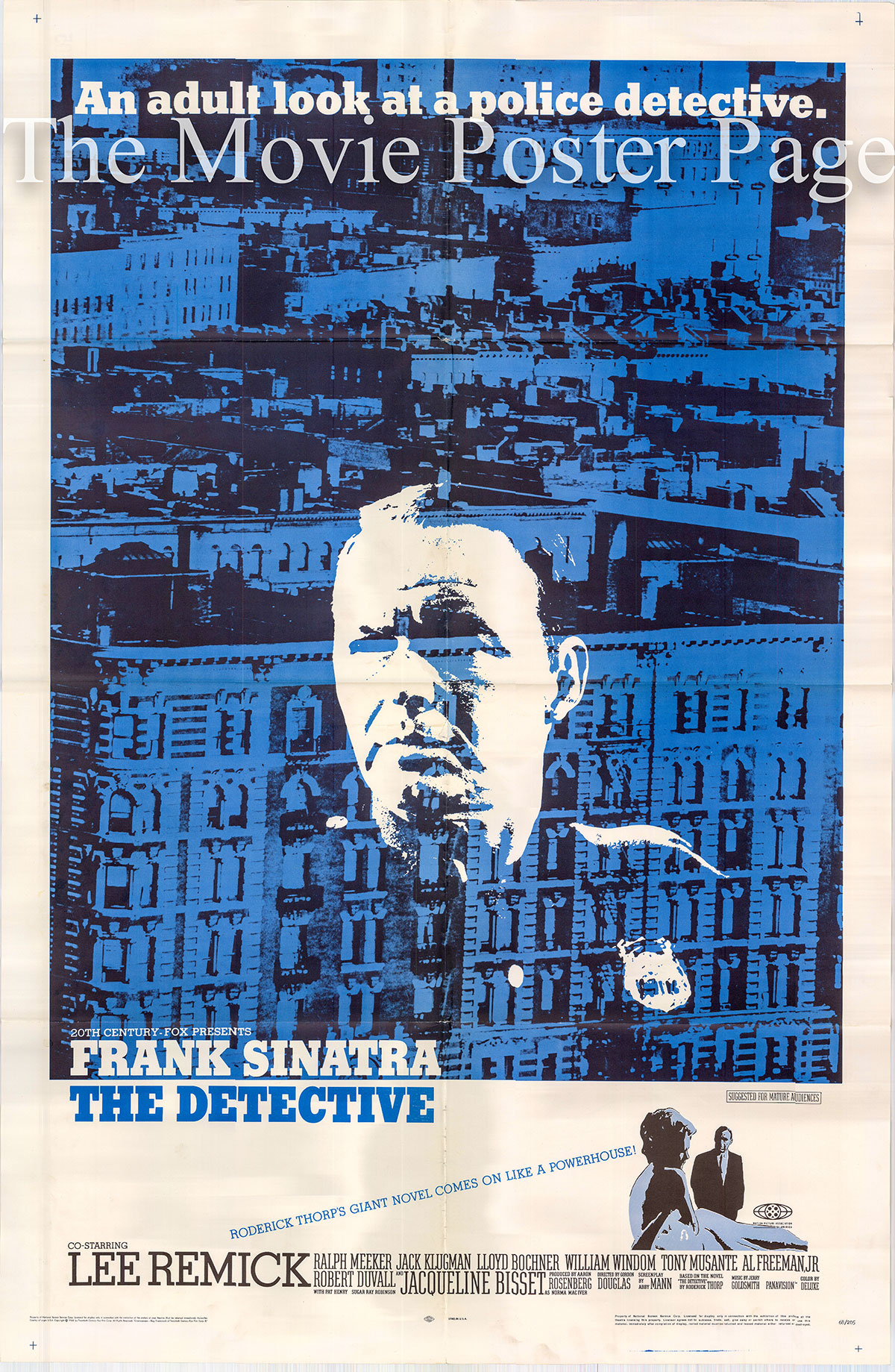 Pictured is a US one-sheet poster for the 1968 Gordon Douglas film The Detective starring Frank Sinatra as Joe Leland.