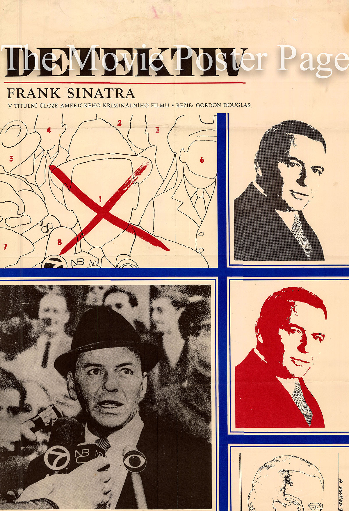 Pictured is a Czech promotional poster for a 1969 rerelease of the 1968 Gordon Douglas film The Detective starring Frank Sinatra as Joe Leland.
