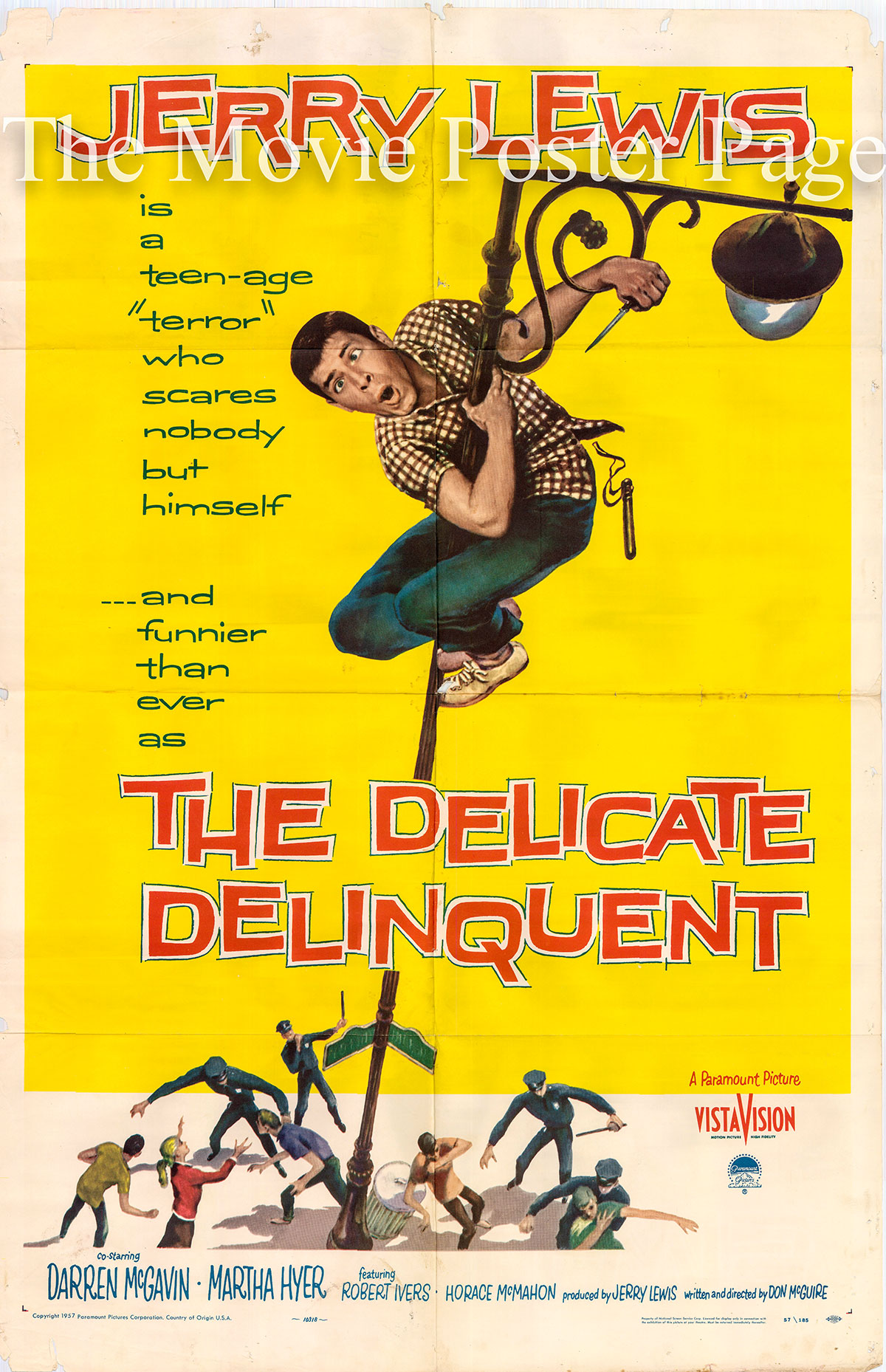 Pictured is a US one-sheet poster for the 1957 Don McGuire film The Delicate Delinquent starring Jerry Lewis.