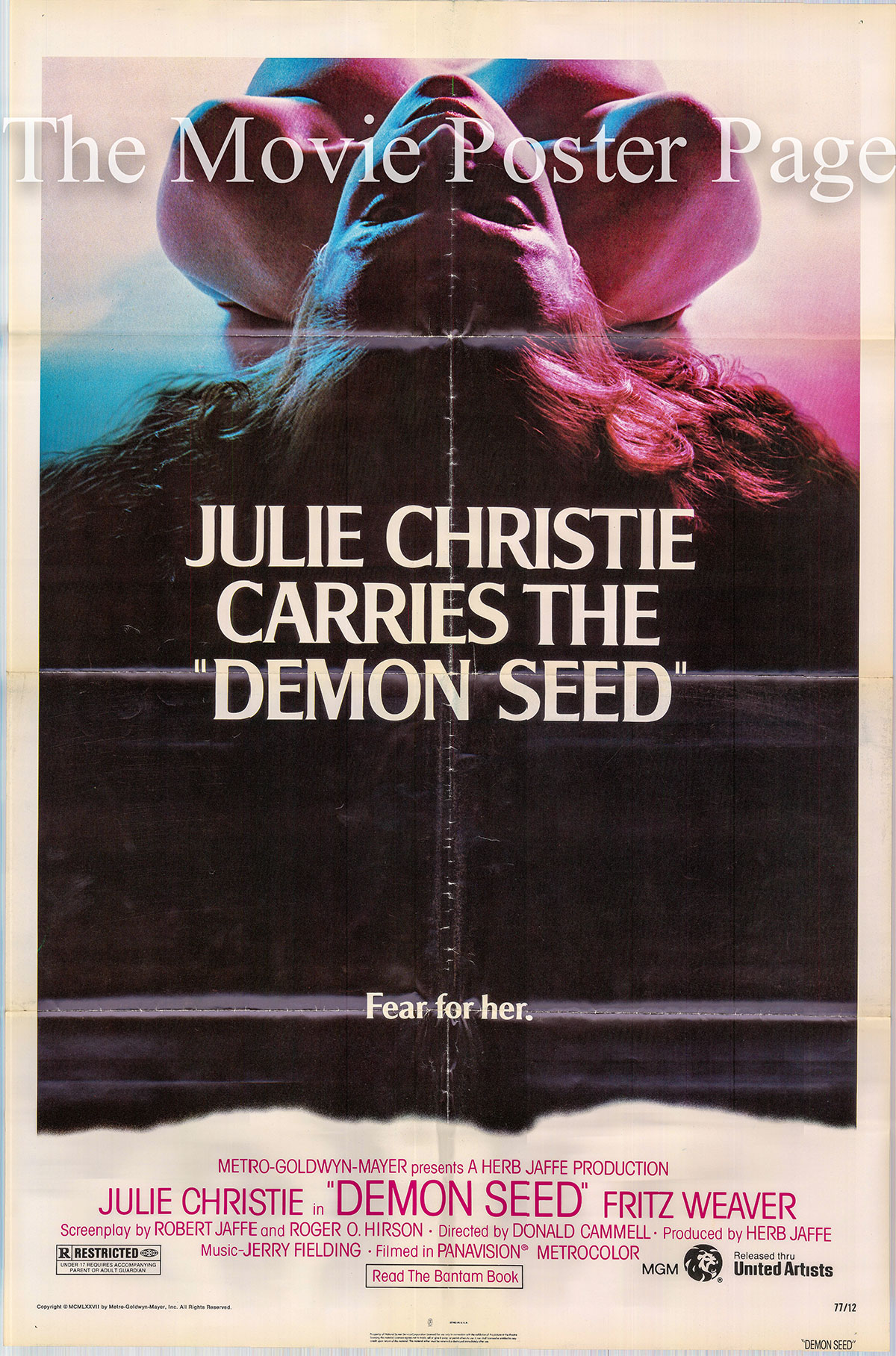 Pictured is a US one-sheet poster for the 1977 Donald Cammell film Demon Seed starring Julie Christie as Susan Harris.