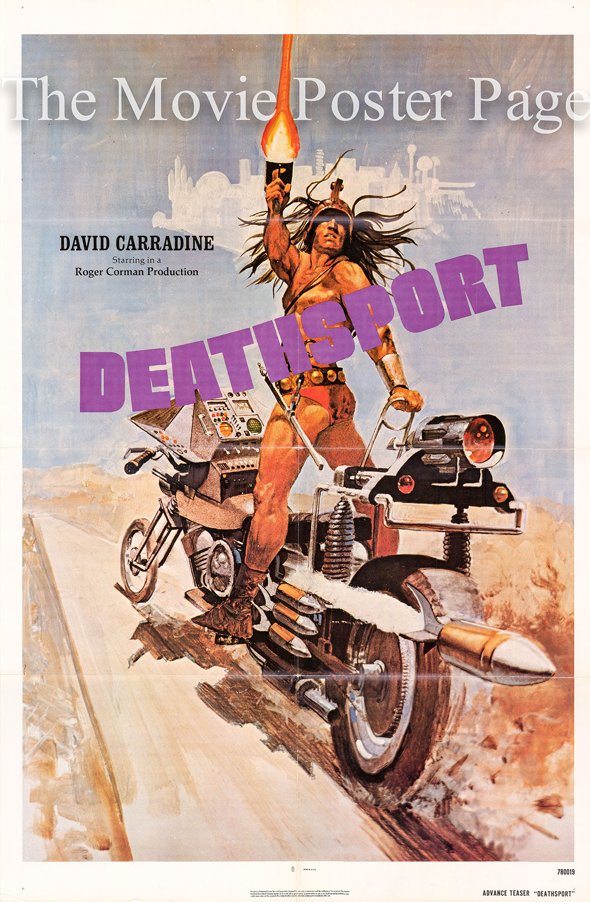 Pictured is a US teaser poster for the 1978 Roger Corman film Deathsport starring David Carradine as Kaz Oshay.