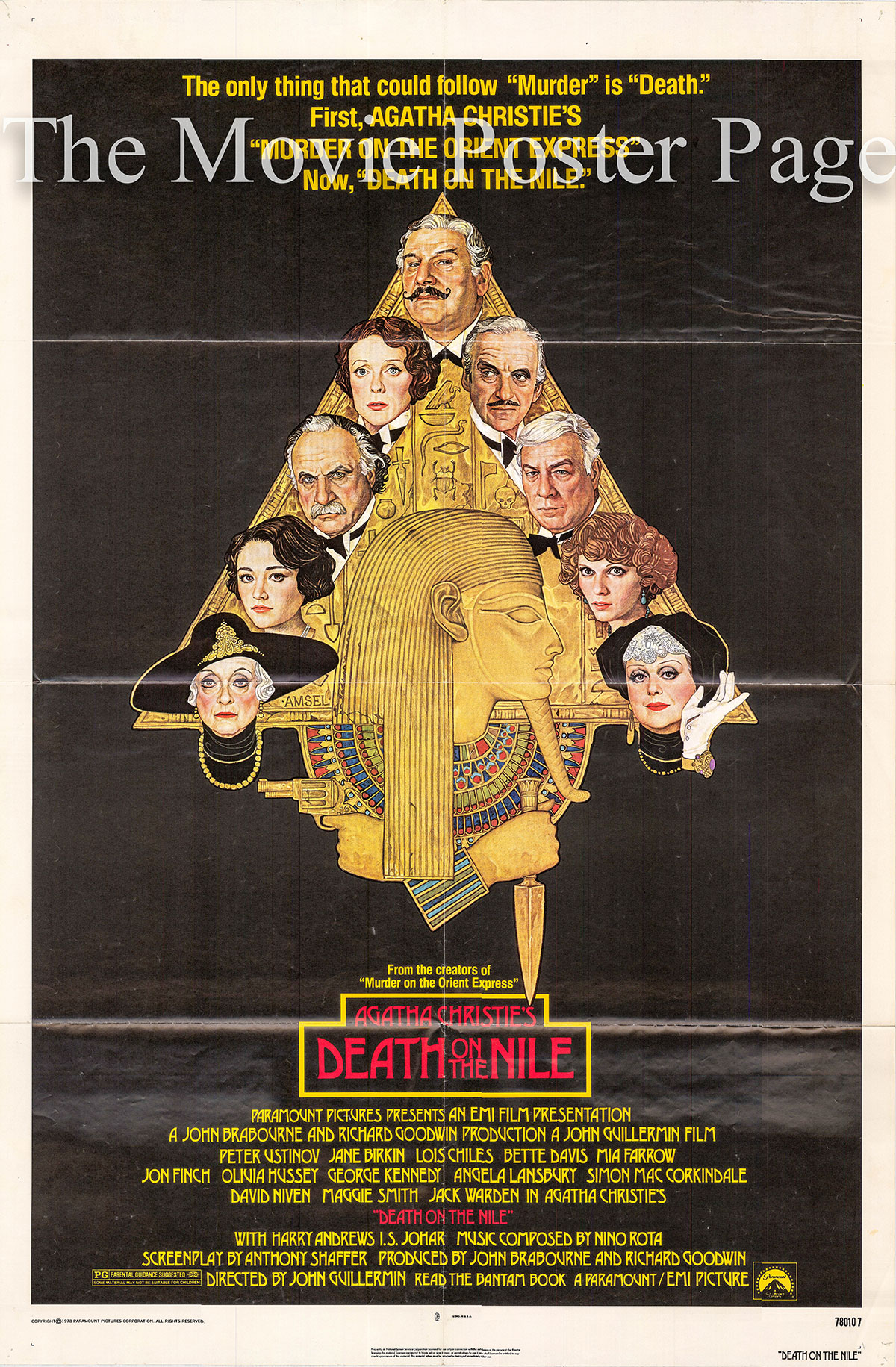 Pictured is a US one-sheet poster for the 1978 John Guillermin film Death on the Nile starring Peter Ustinov as Hercule Poirot.