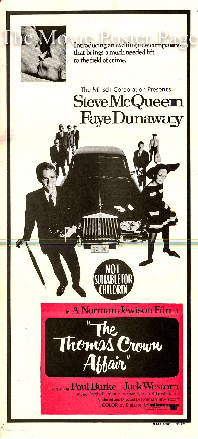 Pictured is an Australian daybill poster for the 1968 Norman Jewison film <i>The Thomas Crown Affair</i> written by Alan Trustman and starring Steve McQueen as Thomas Crown.