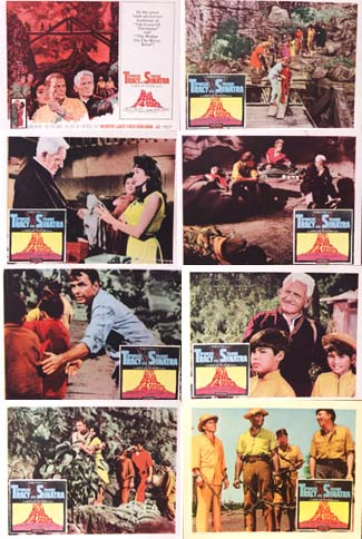 Pictured is a US lobby card set for the 1961 Mervyn LeRoy film The Devil at 4 O'Clock starring Spencer Tracy as Father Matthew Doonan and Frank Sinatra as Harry.