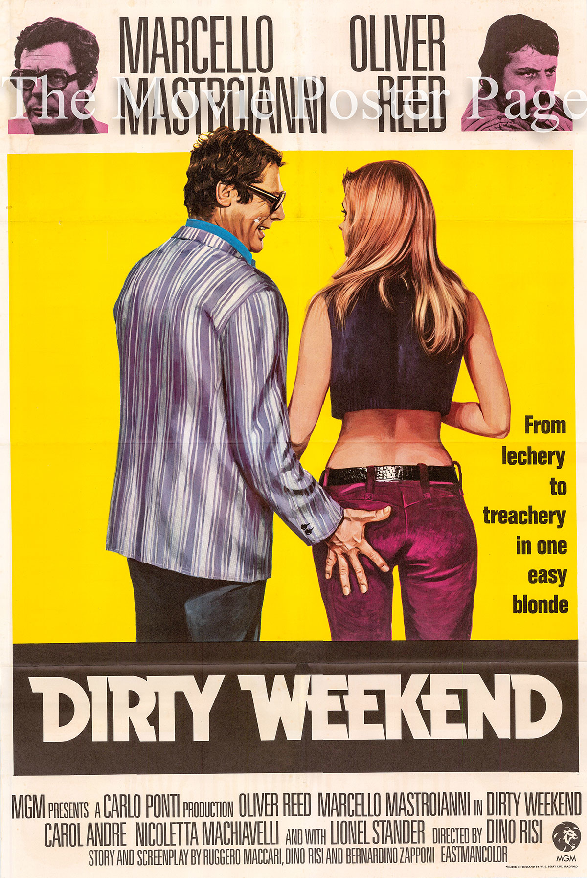 Pictured is a UK one-sheet poster for the 1972 Dino Risi film Dirty Weekend starring Marcello Mastroianni as Giulio Borsi.