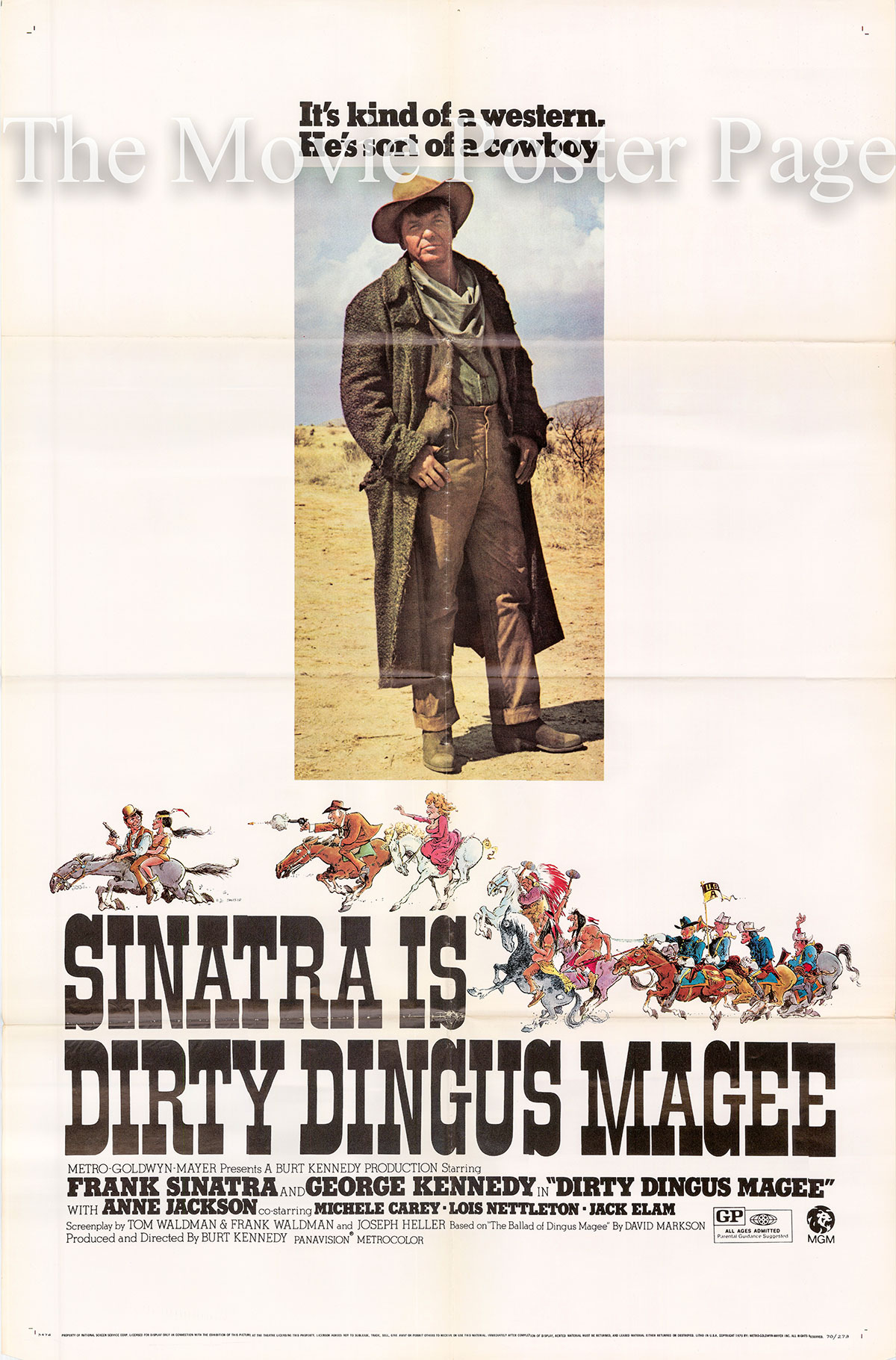 Pictured is a US one-sheet for the 1970 Burt Kennedy film Dirty Dingus Magee starring Frank Sinatra.